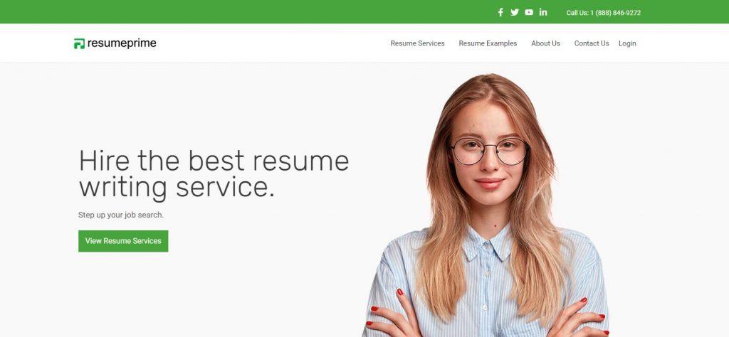 screenshot of resume prime homepage