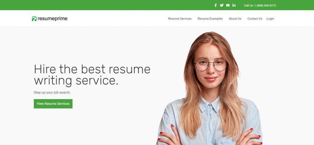 Resume Prime homepage with woman to hire the best resume writing service