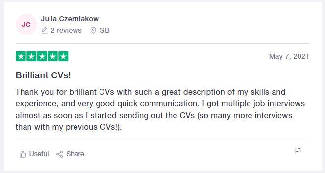Trustpilot CV writing services review for CareerAddict