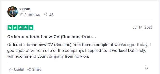Trustpilot CV writing services review for CraftResumes