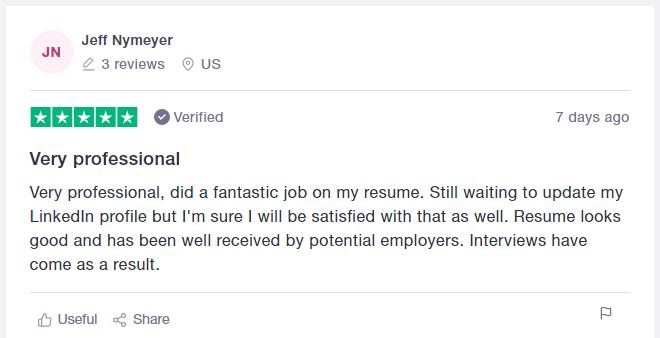 Trustpilot CV writing services review for Resume Professional Writers