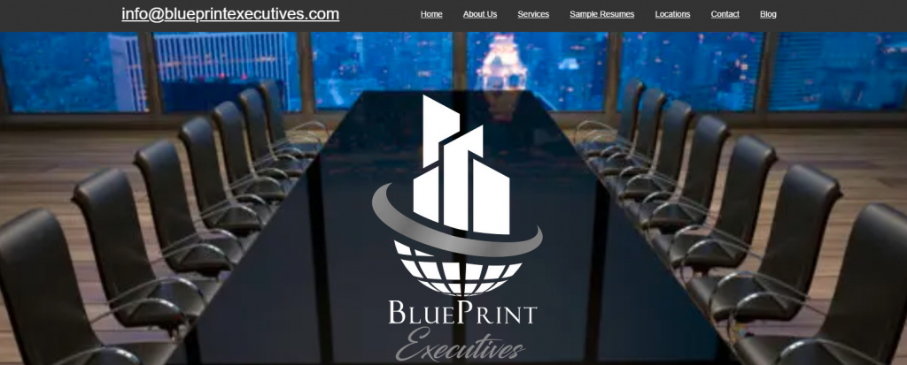 Best Resume Service in California – Screenshot of BluePrint Executives Homepage