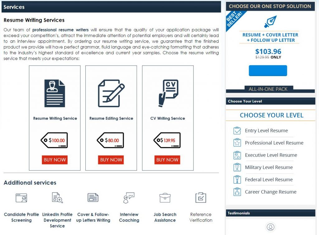 screenshot of Resume Writing Services' offerings, including add-on services