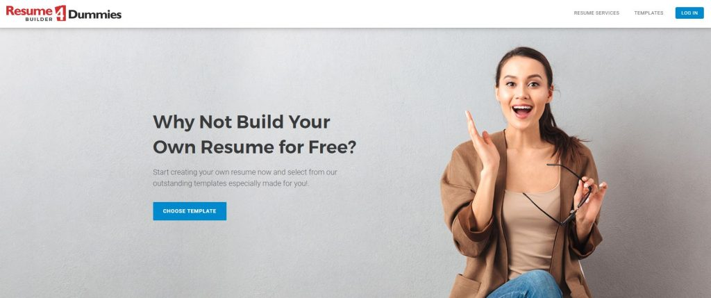 Resume4Dummies' Resume Builder, with the hero section of the homepage showing a happy job seeker