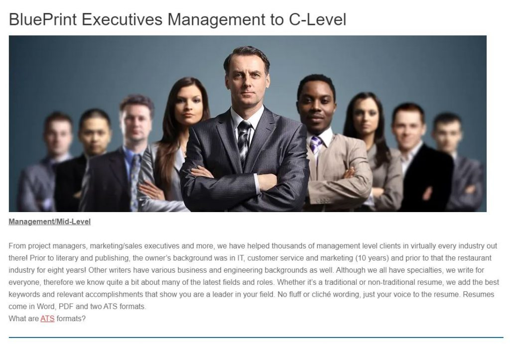 screenshot of BluePrint Executives' Resume Services page for Management and Mid-level job seekers