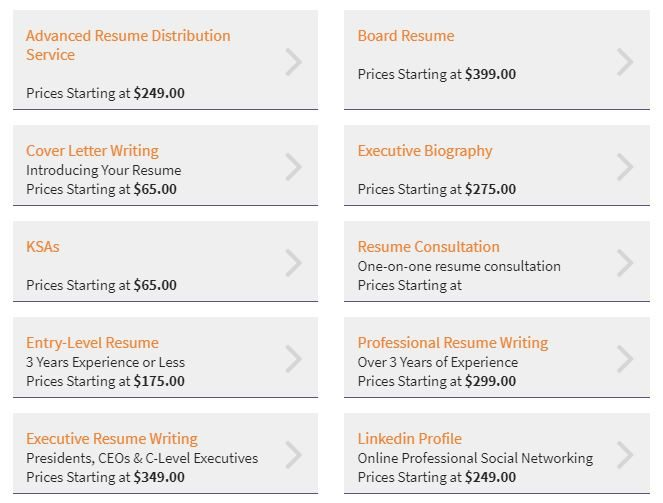 screenshot of Capstone Resume Services' wide range of resume services