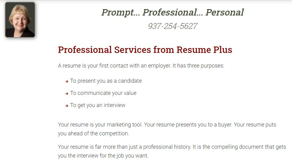 screenshot of Resume Plus' Services page,