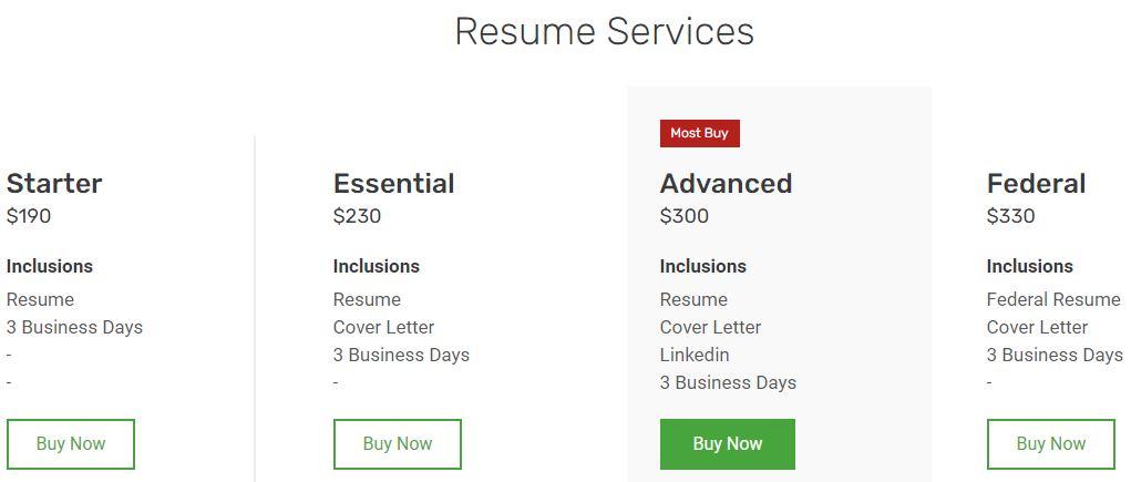 screenshot of Resume Prime's resume services
