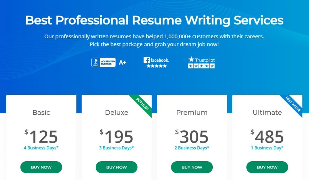 screenshot of Resume Professional Writers' service packages