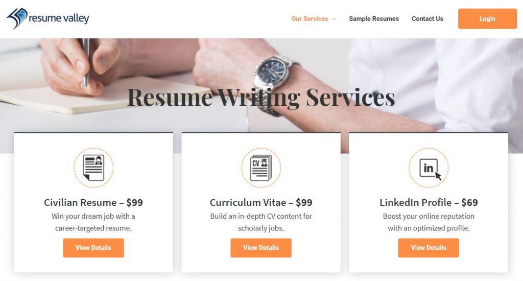 screenshot of Resume Valley's resume packages