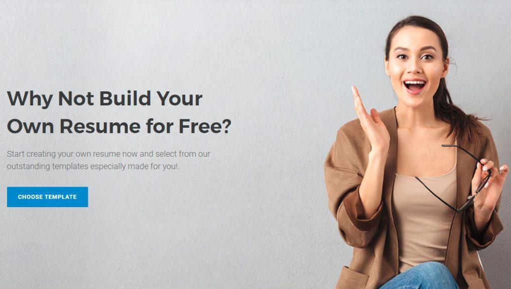 screenshot of Resume4Dummies' free resume builder page