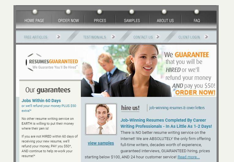 screenshot of Resumes Guaranteed's homepage