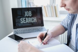 unemployed man preparing for job search